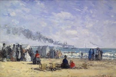The Beach at Trouville at Bathing Time; La Plage De Trouville a L'Heure Du Bain, 1868-Eug?ne Boudin-Giclee Print