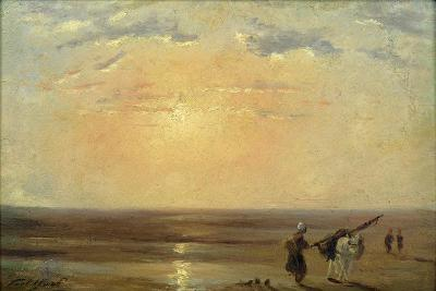 The Beach at Trouville with Setting Sun-Paul Huet-Giclee Print
