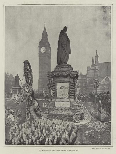 The Beaconsfield Statue, Westminster, on Primrose Day--Giclee Print