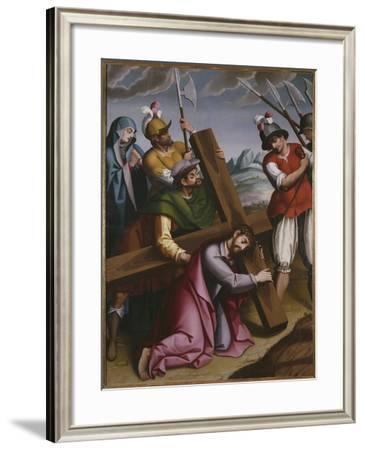 The Bearing of the Cross, Simon of Cyrene Helps Jesus-Spanish School-Framed Giclee Print