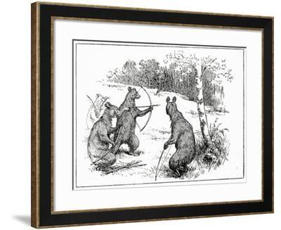 The Bears Practicing Shooting Arrows, from 'The Book of Myths' by Amy Cruse, 1925--Framed Giclee Print