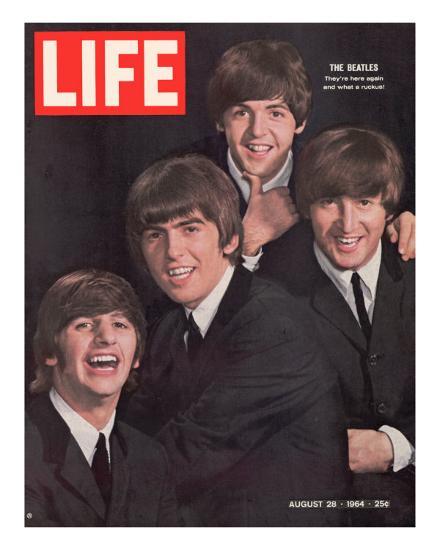 The Beatles, Ringo Starr, George Harrison, Paul Mccartney and John Lennon, August 28, 1964-John Dominis-Premium Photographic Print