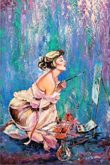 The Beautiful Girl Drawing A Picture-balaikin2009-Art Print