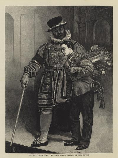 The Beefeater and the Drummer, a Sketch in the Tower-Sir James Dromgole Linton-Giclee Print