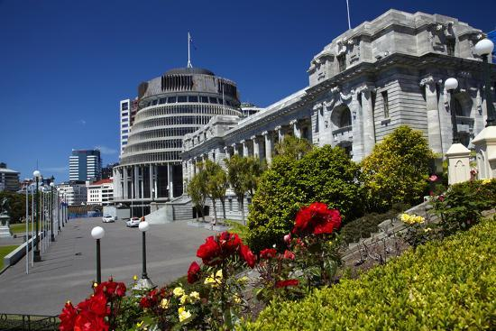 The Beehive and Parliament House, Wellington, North Island, New Zealand-David Wall-Photographic Print