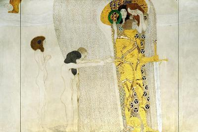 The Beethoven Frieze, Detail: Knight in Shining Armor, 1902-Gustav Klimt-Giclee Print
