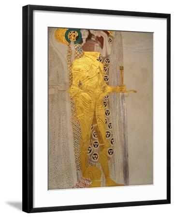The Beethoven Frieze, Detail: Knight in Shining Armor-Gustav Klimt-Framed Giclee Print