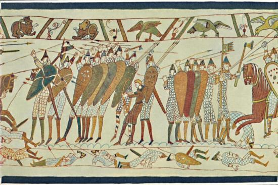 'The Beginning of the Battle of Senlac (Bayeux Tapestry)', c15th century, (1902)-Unknown-Giclee Print