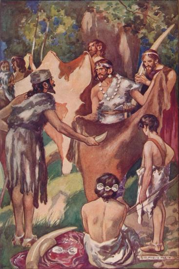 The beginnings of commerce: primitive people bartering ivory tusks and bull hides, 1907-Unknown-Giclee Print