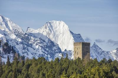 The Belvedere Tower Frames Snowy Peaks and Peak Badile on a Spring Day, Switzerland-Roberto Moiola-Photographic Print