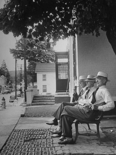 The Bench in Front of the Pawling National Bank is a Gathering Place For Men of the Town-Nina Leen-Photographic Print