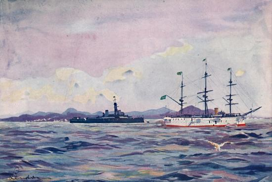 'The Benjamin Constant Training Cruiser and the dreadnought Minas Geraes in Rio Harbour', 1914-Unknown-Giclee Print