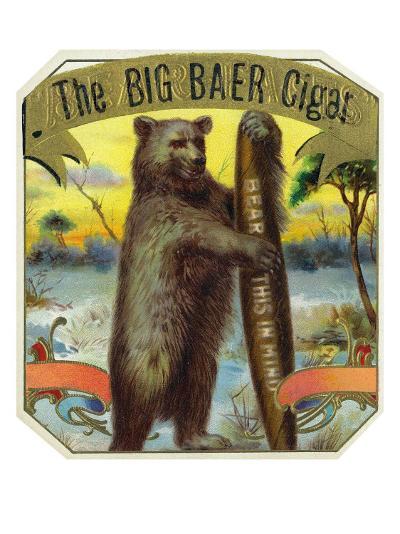 The Big Baer Cigar, Bear-Facts Brand Cigar Outer Box Label, Misspelling-Lantern Press-Art Print