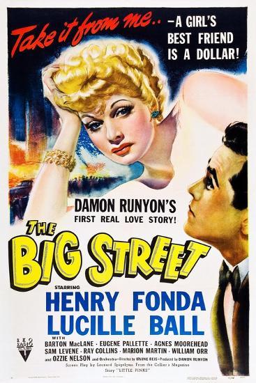 THE BIG STREET, top: Lucille Ball, right: Henry Fonda, 1942.--Art Print