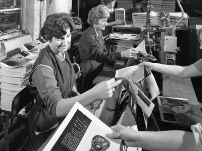 The Binding Room at a Printing Company, Mexborough, South Yorkshire, 1959-Michael Walters-Photographic Print