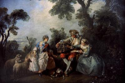 The Bird Cage, Ca.1735-Nicolas Lancret-Giclee Print