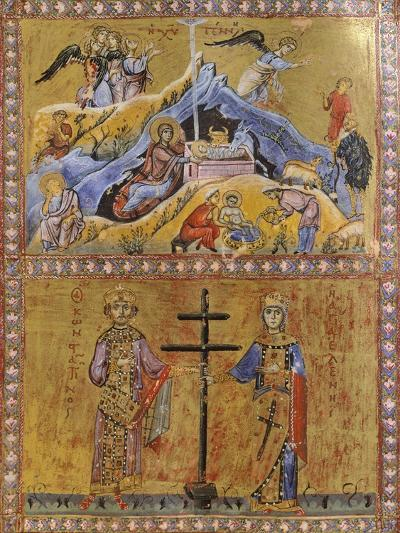 The Birth of Jesus, Constantine and Saint Helen, Miniature from Greek Code, Manuscript--Giclee Print