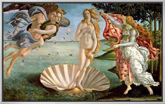 The Birth of Venus, c.1485-Sandro Botticelli-Framed Canvas Print