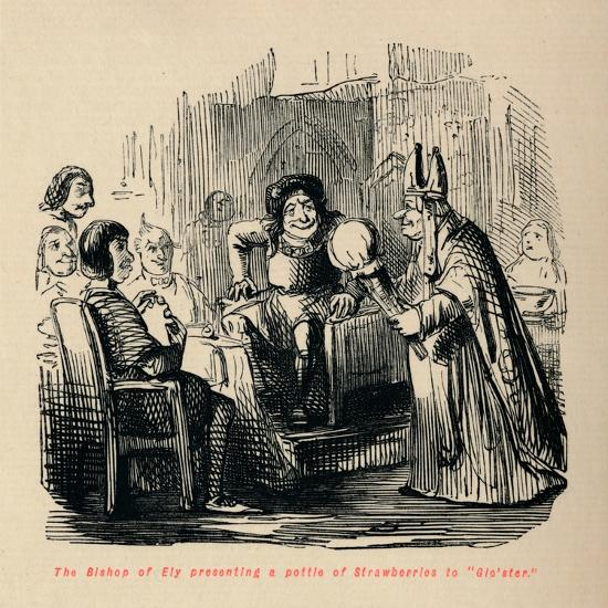'The Bishop of Ely presenting a pottle of Strawberries to Glo'ster.,-John Leech-Giclee Print