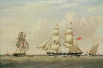 The Black Ball Line Brig, 'Wupper' Off Spurn Head, 1849-John Ward-Giclee Print