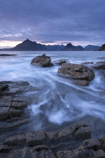 The Black Cuillin Mountains from the Rocky Shores of Elgol, Isle of Skye, Scotland-Adam Burton-Photographic Print