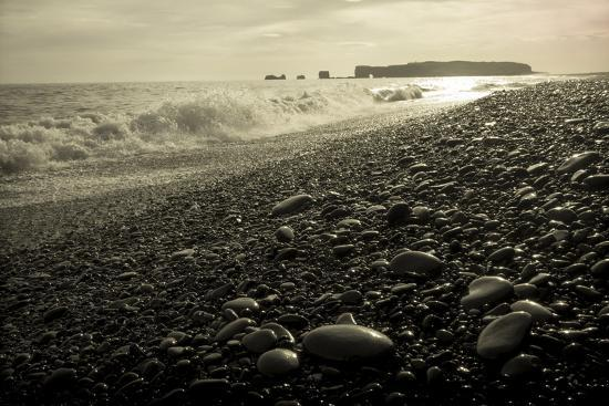 The Black Pebble Beach Of Reynisfjara Looking West To Lava Arch Dyrholaey Photographic Print By Bill Marr Art