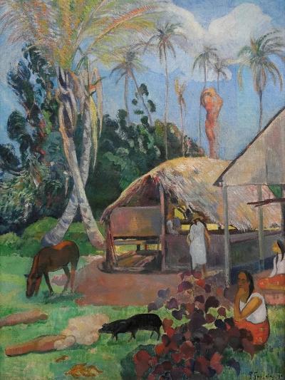 The Black Pigs-Paul Gauguin-Art Print