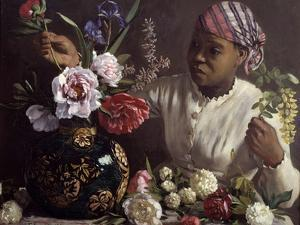 The Black Woman with Peonies by Frederic Bazille