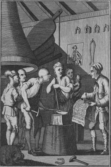 'The Blacksmith lets his Iron grow cold attending to the Taylor's News', 1772-Unknown-Giclee Print