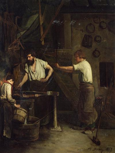 The Blacksmiths, Memory of Treport, 1857-Francois Bonvin-Giclee Print