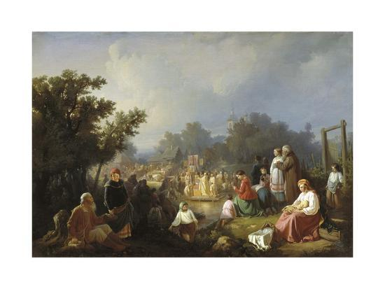 The Blessing of Waters in a Country Village, 1858-Ivan Petrovich Trutnew-Giclee Print