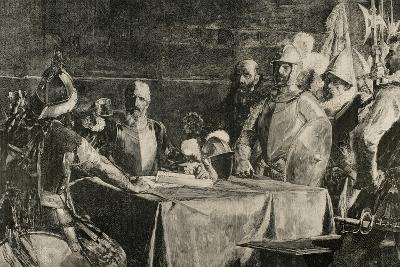 The Blood Compact's Ceremony Between Miguel Lopez De Legazpi (1503-1572) and Sikatuna--Giclee Print