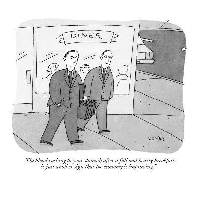 """""""The blood rushing to your stomach after a full and hearty breakfast is ju?"""" - New Yorker Cartoon-Peter C. Vey-Premium Giclee Print"""