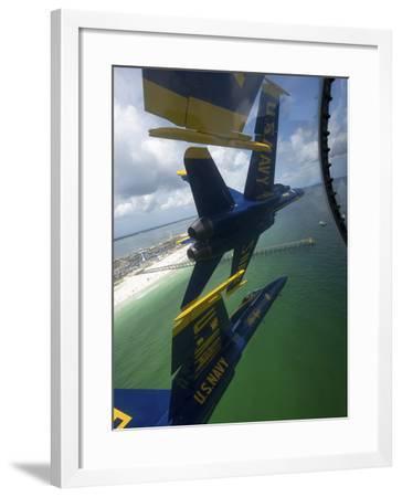 The Blue Angels Perform the Diamond 360 Maneuver Over Florida-Stocktrek Images-Framed Photographic Print