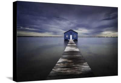 The Blue Boatshed-Leah Kennedy-Stretched Canvas Print