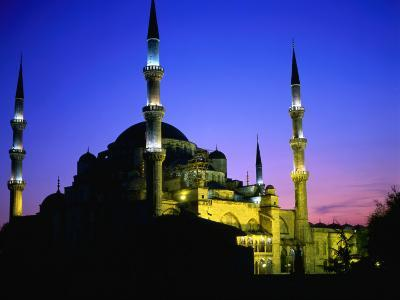 The Blue Mosque of Sultan Ahmed I (Built Between 1609 and 1616) at Night, Istanbul, Turkey-Wes Walker-Photographic Print