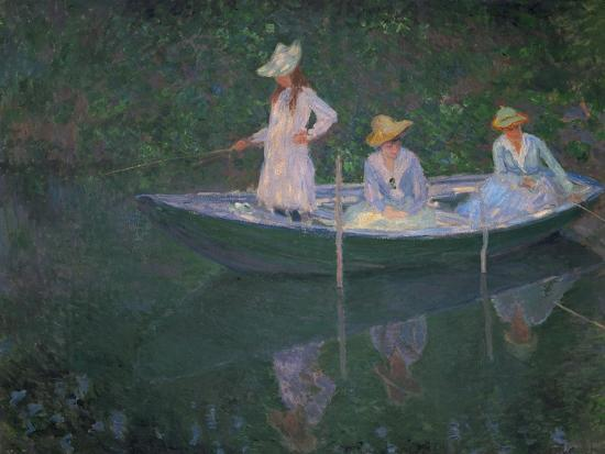 The Boat at Giverny (Or) the Norwegians, the Three Daughters of Mme. Hoschede-Claude Monet-Giclee Print