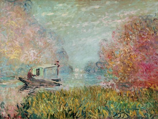 The Boat Studio on the Seine, 1875-Claude Monet-Giclee Print