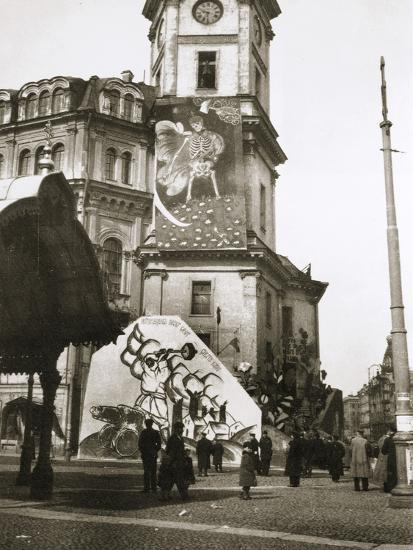 The Bolsheviks cover official buildings with their art, Petrograd (St Petersburg), Russia, 1918-Unknown-Photographic Print