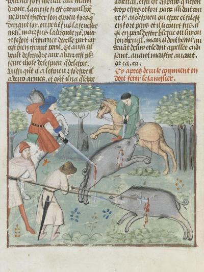 The Book of Gaston Phoebus Hunting: Killing the Boar--Giclee Print