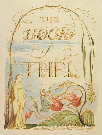 The Book of Thel, Plate 2 (Title Page), 1789-William Blake-Giclee Print