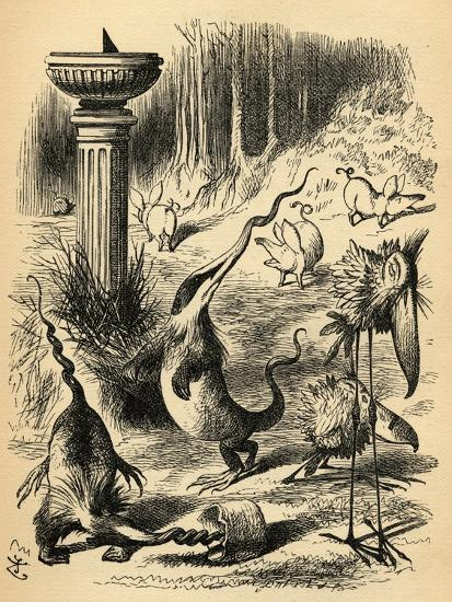 The Borogoves, Toves and the Raths, Illustration from 'Through the Looking Glass' by Lewis…-John Tenniel-Giclee Print