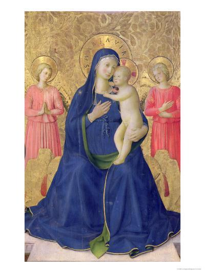 The Bosco Ai Frati Altarpiece: The Virgin and Child Enthroned with Two Angels, 1452-Fra Angelico-Giclee Print