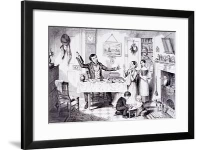 The Bottle Is Brought Out for the First Time, London, England, 1847-George Cruikshank-Framed Giclee Print