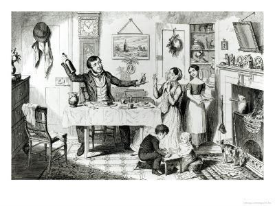 The Bottle, Plate I, the Husband Induces His Wife Just to Take a Drop, 1847-George Cruikshank-Giclee Print