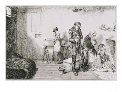 The Bottle, Plate V, Cold, Misery and Want Destroy Their Youngest Child-George Cruikshank-Giclee Print
