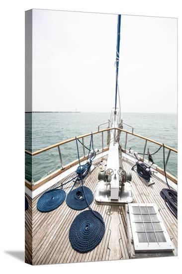 The Bow of a Wooden Sailboat on the Ocean in Panama-Jonathan Kingston-Stretched Canvas Print