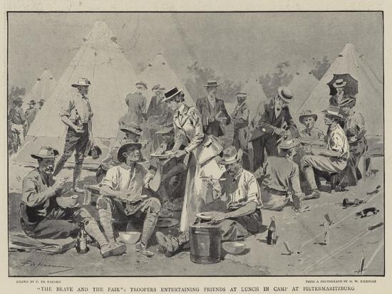 The Brave and the Fair, Troopers Entertaining Friends at Lunch in Camp at Pietermaritzburg-Frederic De Haenen-Giclee Print