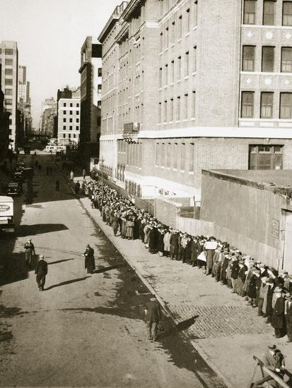 The breadline, a visible sign of poverty during the Great Depression, USA, 1930s-Unknown-Photographic Print