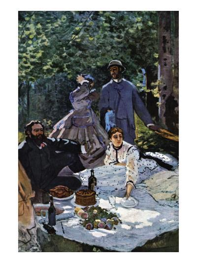 The Breakfast Outdoors, Central Section-Claude Monet-Art Print